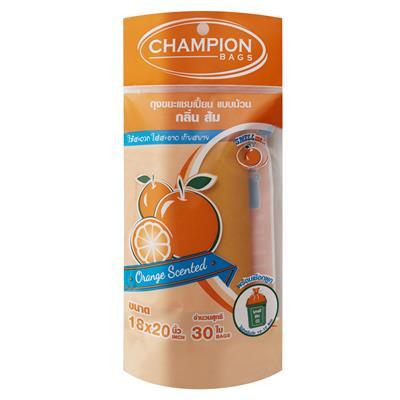 ถุงขยะม้วนกลิ่นส้ม 18x20นิ้ว (แพ็ค30ใบ) CHAMPION