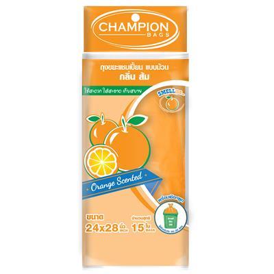 ถุงขยะม้วนกลิ่นส้ม 24x28 นิ้ว (แพ็ค15ใบ) CHAMPION