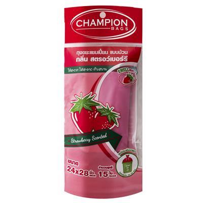 ถุงขยะม้วนกลิ่นสตรอเบอรี่ 18x20นิ้ว(แพ็ค30ใบ) CHAMPION