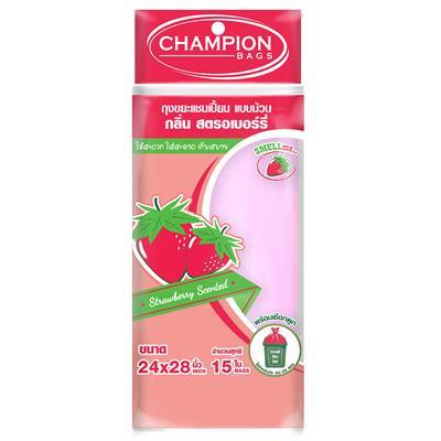 ถุงขยะม้วนกลิ่นสตรอเบอรี่ 24x28นิ้ว(แพ็ค15ใบ) CHAMPION