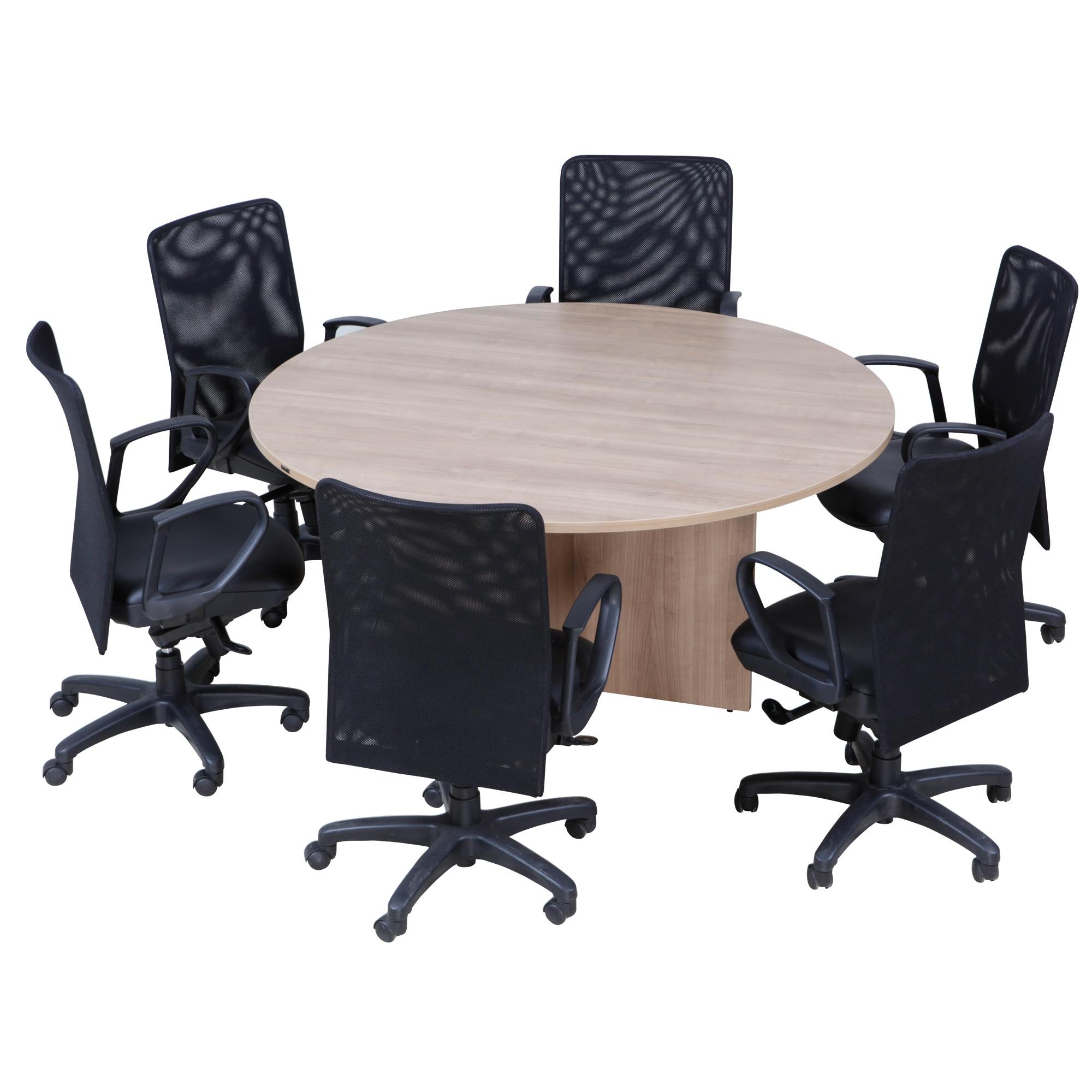 Furradec RST Round Meeting Table Seat Light Oak Conference Table - Round conference table for 6